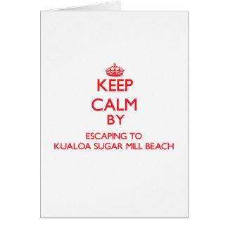 Keep calm by escaping to Kualoa Sugar Mill Beach H Greeting Card