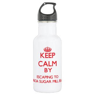 Keep calm by escaping to Kualoa Sugar Mill Beach H 18oz Water Bottle