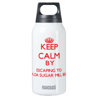 Keep calm by escaping to Kualoa Sugar Mill Beach H 10 Oz Insulated SIGG Thermos Water Bottle