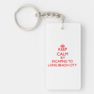 Keep calm by escaping to Long Beach City New York Double-Sided Rectangular Acrylic Keychain