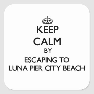 Keep calm by escaping to Luna Pier City Beach Mich Square Stickers
