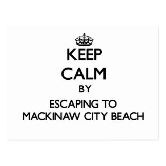 Keep calm by escaping to Mackinaw City Beach Michi Postcards