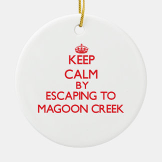 Keep calm by escaping to Magoon Creek Michigan Christmas Tree Ornament