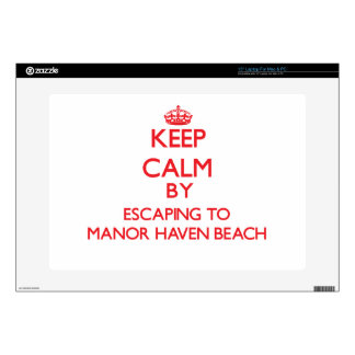 Keep calm by escaping to Manor Haven Beach New Yor Decal For Laptop