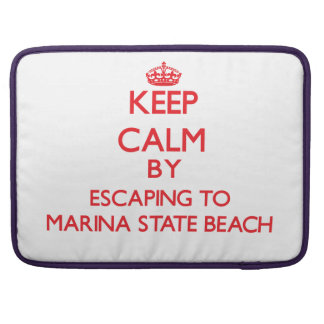 Keep calm by escaping to Marina State Beach Califo Sleeves For MacBooks