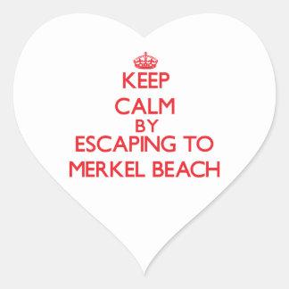 Keep calm by escaping to Merkel Beach Massachusett Heart Sticker