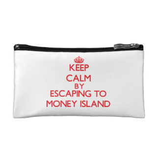 Keep calm by escaping to Money Island New Jersey Makeup Bags
