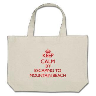 Keep calm by escaping to Mountain Beach Michigan Canvas Bags