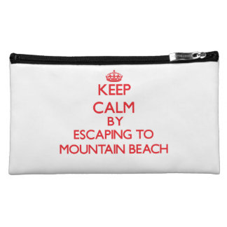 Keep calm by escaping to Mountain Beach Michigan Cosmetics Bags
