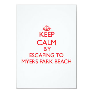 Keep calm by escaping to Myers Park Beach Wisconsi 5x7 Paper Invitation Card