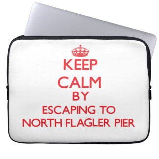 Keep calm by escaping to North Flagler Pier Florid Laptop Computer Sleeve