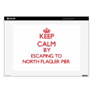 """Keep calm by escaping to North Flagler Pier Florid 15"""" Laptop Decal"""