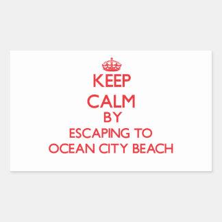 Keep calm by escaping to Ocean City Beach Maryland Rectangular Sticker