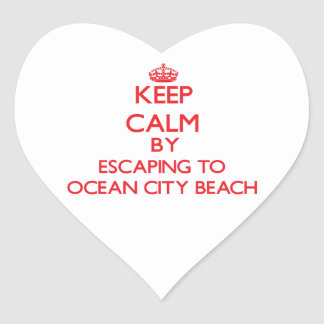 Keep calm by escaping to Ocean City Beach Maryland Heart Sticker