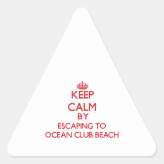 Keep calm by escaping to Ocean Club Beach New York Triangle Sticker