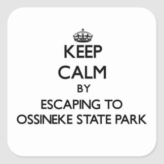 Keep calm by escaping to Ossineke State Park Michi Square Sticker