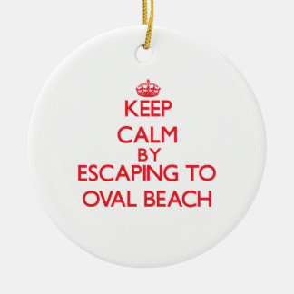 Keep calm by escaping to Oval Beach Michigan Christmas Ornament