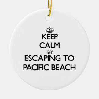Keep calm by escaping to Pacific Beach California Christmas Tree Ornament