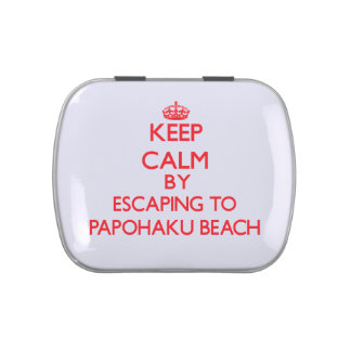 Keep calm by escaping to Papohaku Beach Hawaii Jelly Belly Tin