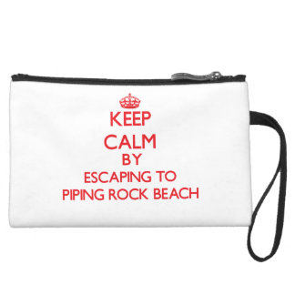 Keep calm by escaping to Piping Rock Beach New Yor Wristlet Clutch