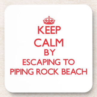 Keep calm by escaping to Piping Rock Beach New Yor Drink Coaster