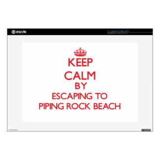 """Keep calm by escaping to Piping Rock Beach New Yor Decal For 15"""" Laptop"""