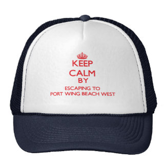 Keep calm by escaping to Port Wing Beach West Wisc Mesh Hat