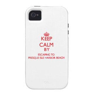 Keep calm by escaping to Presque Isle Harbor Beach iPhone 4/4S Case