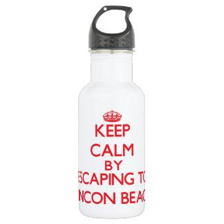 Keep calm by escaping to Rincon Beach California 18oz Water Bottle
