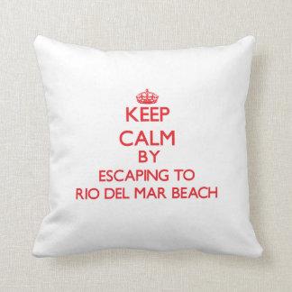 Keep calm by escaping to Rio Del Mar Beach Califor Throw Pillows