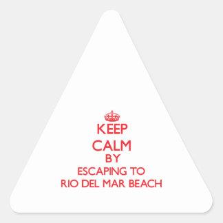 Keep calm by escaping to Rio Del Mar Beach Califor Triangle Sticker