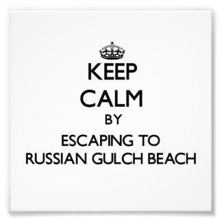 Keep calm by escaping to Russian Gulch Beach Calif Photo Art