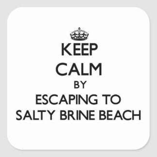 Keep calm by escaping to Salty Brine Beach Rhode I Square Sticker