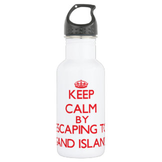 Keep calm by escaping to Sand Island Hawaii 18oz Water Bottle