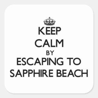 Keep calm by escaping to Sapphire Beach Virgin Isl Square Sticker