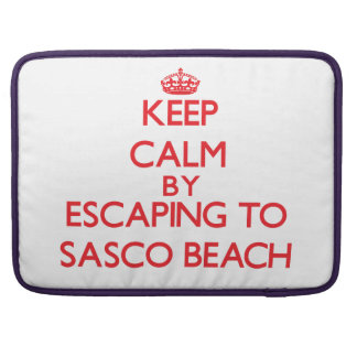 Keep calm by escaping to Sasco Beach Connecticut MacBook Pro Sleeves