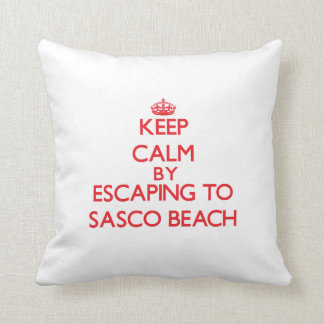 Keep calm by escaping to Sasco Beach Connecticut Pillow