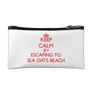 Keep calm by escaping to Sea Oats Beach Florida Makeup Bags
