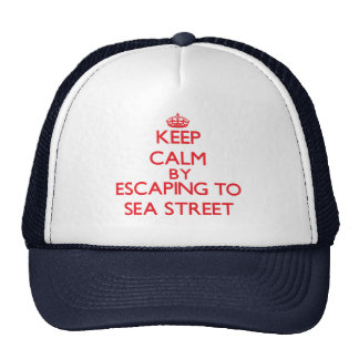 Keep calm by escaping to Sea Street Massachusetts Trucker Hat