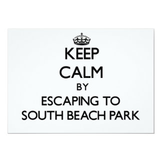 Keep calm by escaping to South Beach Park Florida 5x7 Paper Invitation Card