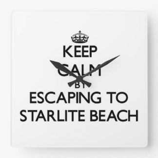 Keep calm by escaping to Starlite Beach Michigan Square Wallclocks