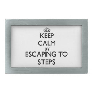 Keep calm by escaping to Steps Massachusetts Belt Buckle