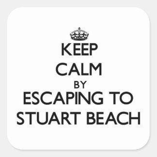 Keep calm by escaping to Stuart Beach Florida Square Sticker