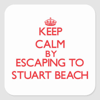 Keep calm by escaping to Stuart Beach Florida Square Stickers