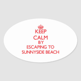 Keep calm by escaping to Sunnyside Beach Florida Oval Sticker