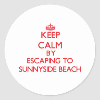 Keep calm by escaping to Sunnyside Beach Florida Classic Round Sticker