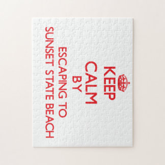 Keep calm by escaping to Sunset State Beach Califo Puzzle