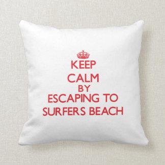 Keep calm by escaping to Surfers Beach California Throw Pillow