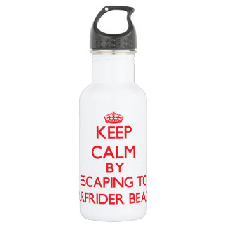 Keep calm by escaping to Surfrider Beach Californi 18oz Water Bottle