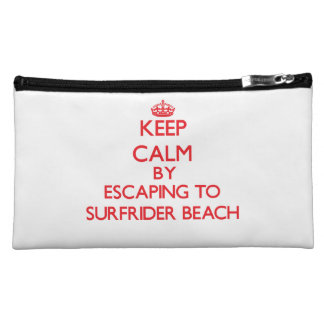 Keep calm by escaping to Surfrider Beach Californi Makeup Bags